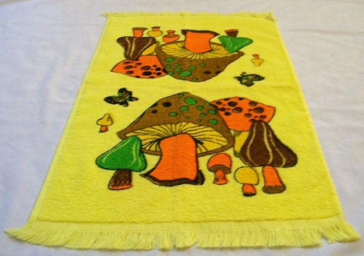 Vintage Towel, Cannon Towel, Yellow Towel, Kitchen Towel, Hand Towels, Cannon towels, 1970s, Vintage Kitchen, Mushrooms, Mushroom towel - pinned by pin4etsy.com