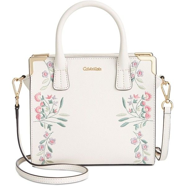 Calvin Klein Embroidered Small Crossbody Satchel (£155) ❤ liked on Polyvore featuring bags, handbags, white, white cross body purse, crossbody purses, floral handbags, calvin klein purse and satchel purses
