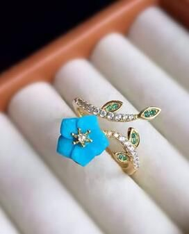 Chic Turquoise Blue Flower Anniversary  Ring