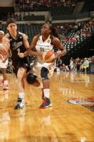 Julie Wojta :WNBA    INDIANAPOLIS, IN - MAY 15: Karima Christmas #11 of the Indiana Fever moves on Julie Wojta #2 of the San Antonio Silver Stars on May 13, 2013 at Bankers Life Fieldhouse in Indianapolis, Indiana.   Getty Image