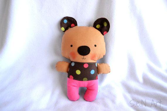 Handmade Teddy Bear Fabric Bear Stuffed Toy Teddy Bear by SenArt1
