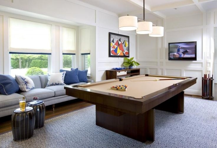 love.  pool table room.  room for chairs on opposite corner of tv??  Relaxing Transitional Game Room by Jed Johnson on HomePortfolio