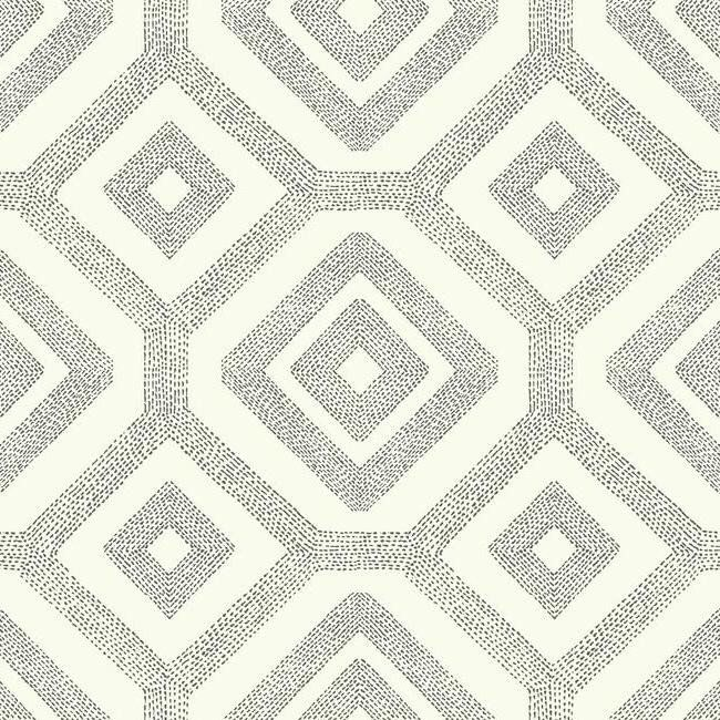 French Knot Wallpaper in Grey and White design by Carey Lind for York Wallcoverings