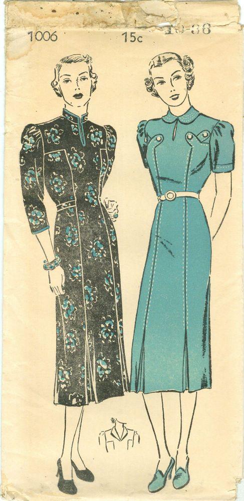 Gorgeous 1930's Dress Mandarin Collar or Tabs at Front Uncut New York 1006 B36