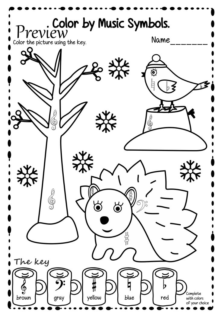 music symbol coloring pages | Winter themed color sheets to help students identify or ...