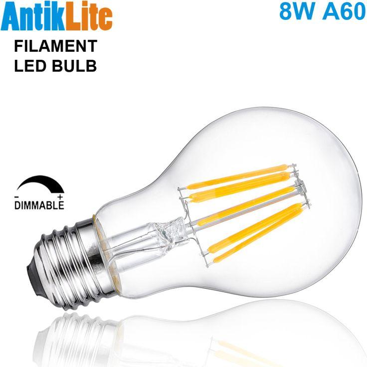 60 W Sama Medium Sekrup (ES) dasar/Bayonet Cap (BC) Pear Berbentuk A60 B22 Standar/A19 E27/E26 LED Filament Edison Light Bulb 8 W