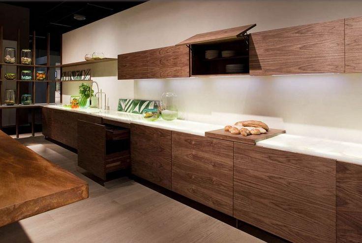 Example of kitchens mimicking furniture -  Cucina su misura in legno impiallacciato senza maniglie LA CUCINA by Riva 1920 design Matteo Thun