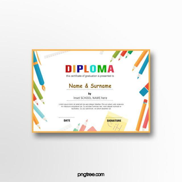 قلم رصاص الكرتون شهادة تخرج الطفل Kids Graduation Certificate Graduation