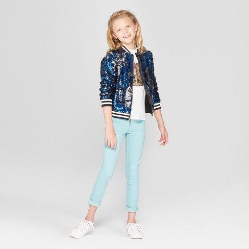 67e59e50a74 Girls' Nickelodeon JoJo's Closet Flip Sequin Bomber Jacket - Blue ...