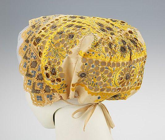 Cap.  Date: late 19th century. Culture: Slovak. Medium: linen, metal, silk. Dimensions: 8 1/2 x 17 in. (21.6 x 43.2 cm).