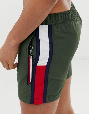 Tommy Hilfiger medium drawstring swim shorts with large flag size taping im olive