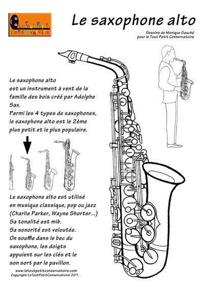 Dessin, coloriage du saxophone alto.