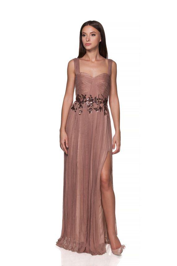 Beige-Almond Long silk engagement gown -dress - Prom dress- Wedding dress - pleated dress silk boho style - bridesmaid dress