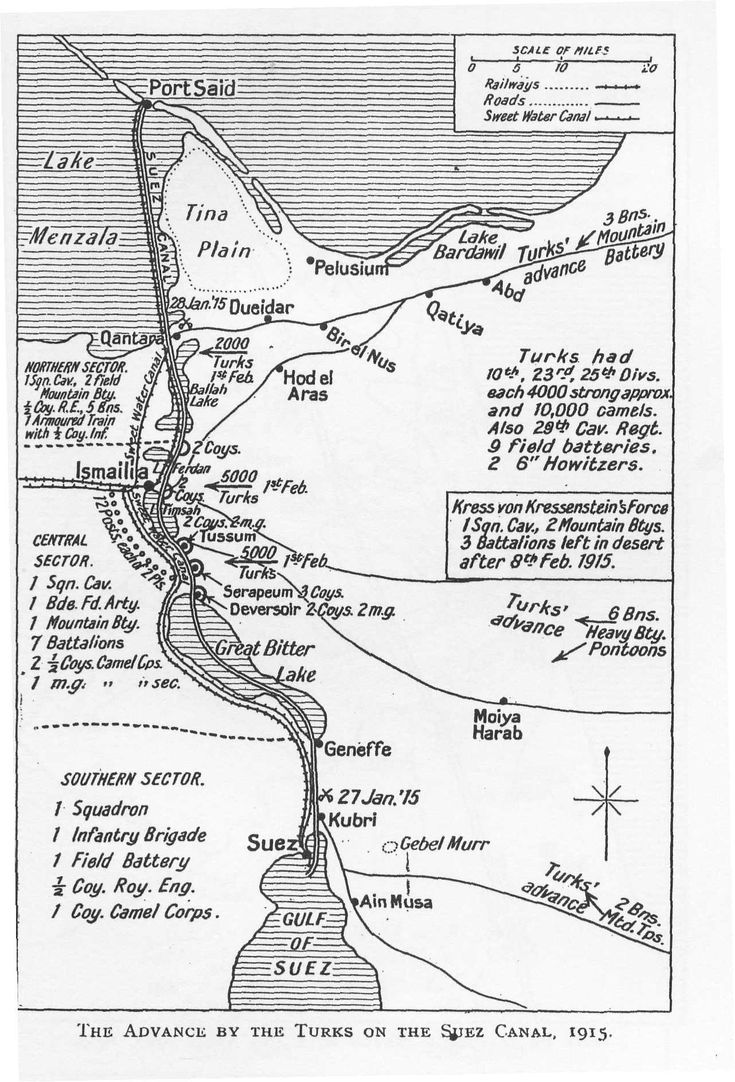 Advance by the Turks on the Suez Canal, 1915 | Map Great War History | WWI Resource Centre