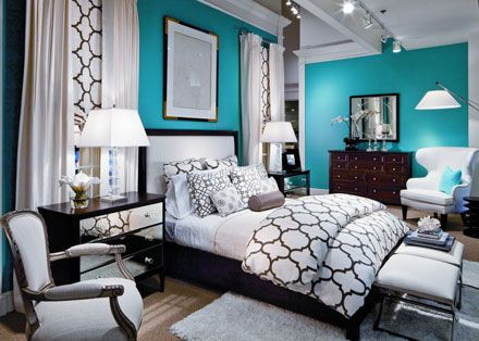 <3Wall Colors, Guest Room, Teal And White Bedroom, Black And Teal Bedroom, Black And White, Colors Schemes, Master Bedrooms, Black White Teal Bedroom, Black White And Teal Bedroom