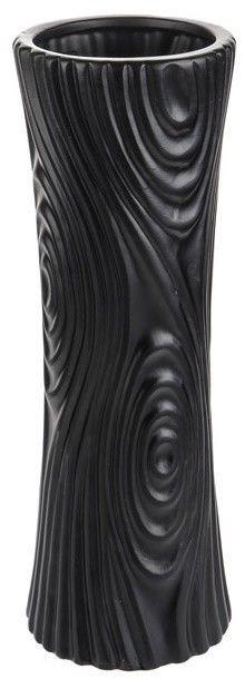 Table Standing Flower Vase Black Wood Effect Ceramic Vase 30cm Tall