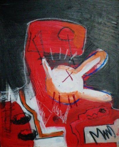 Le Colonisateur,2005 ou 2006 Acrylique, pastel, fusain sur contreplaqué 40/60 © Astrid Genette