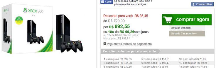 Console Xbox 360 4GB  2 Controles Sem Fio << R$ 69255 em 10 vezes >>