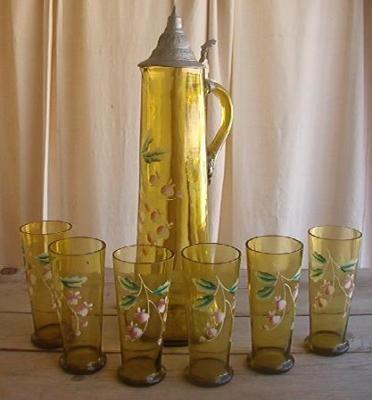 Victorian Green Glass Tankard Germany Wedding Set RARE Bleeding Heart Flower | eBay