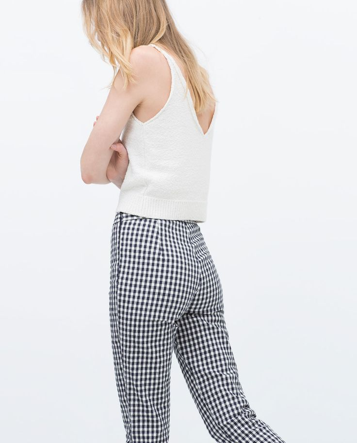 Image 3 of CHECKED SKINNY TROUSERS from Zara