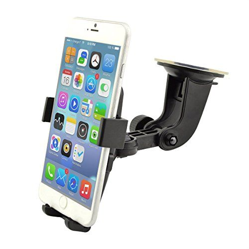 Best Car Phone Holder in Car Holder Car Mount Universal Cradle Windshield Apple  Samsung  HTC Adjustable Windshield Holder Cradle with Strong Sticky Pad for iPhone 7/6S/6s Plus/6/6 Plus/5S/5C/SE Galaxy Note 4/3 Galaxy S5 S6/ S6 Edge/S7/S8 Edge and Other Android Smart Phone