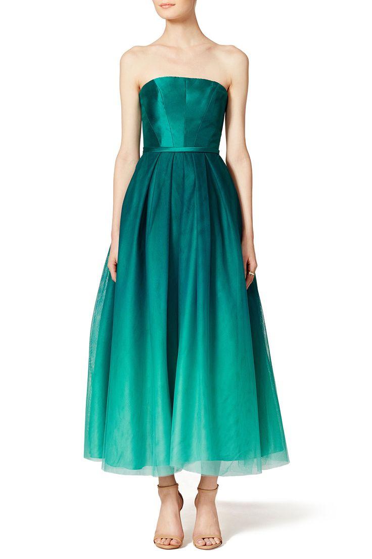 ML Monique Lhuillier Ombre Teal Dress