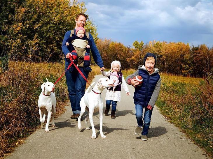 """""""Os cães confiam e amam as crianças, e se sentem confortáveis com eles o tempo todo."""""""