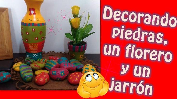 Pintando y decorando piedras, un jarrón y un florero - MANUALIDADES DIY