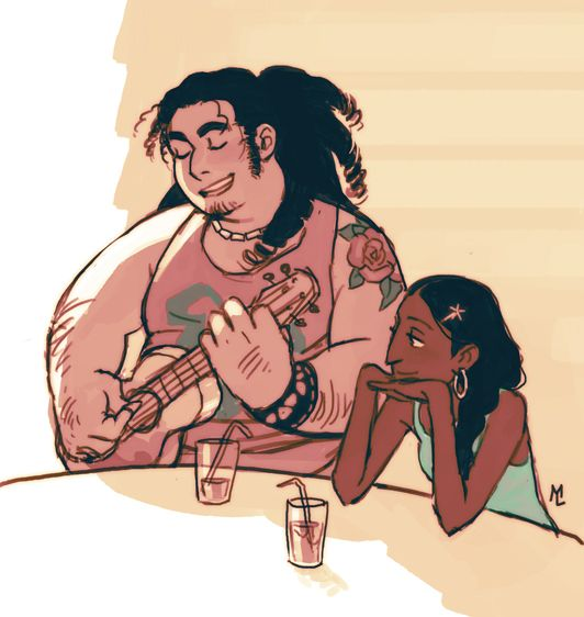 """Older Steven and Connie- not just older, look at all the traits he got from rose. The shape and the curls. I really wasn't feeling the """"buff"""" future Steven in the last episode l."""