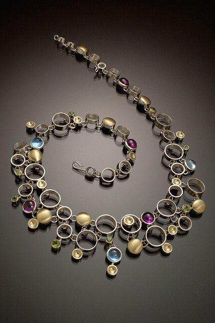 Necklace | Danielle Miller-Gilliam 'Effervescence' Hand fabricated sterling silver & 18k gold with amethyst, blue topaz & peridot