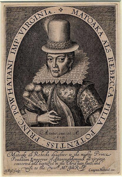 Matoaka (Pocahontas), engraving by Simon van de Passe