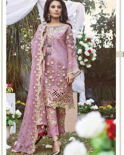 8c576fcc1bb8 Ramsha Chiffon Embroidery Suit With Chiffon Embroidery Dupatta (Replica)( Unstitched)