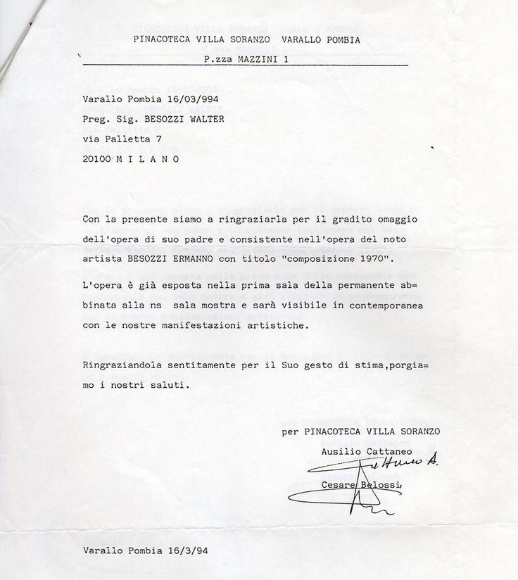 1994 Lettera Villa Soranzo Varallo Pombia