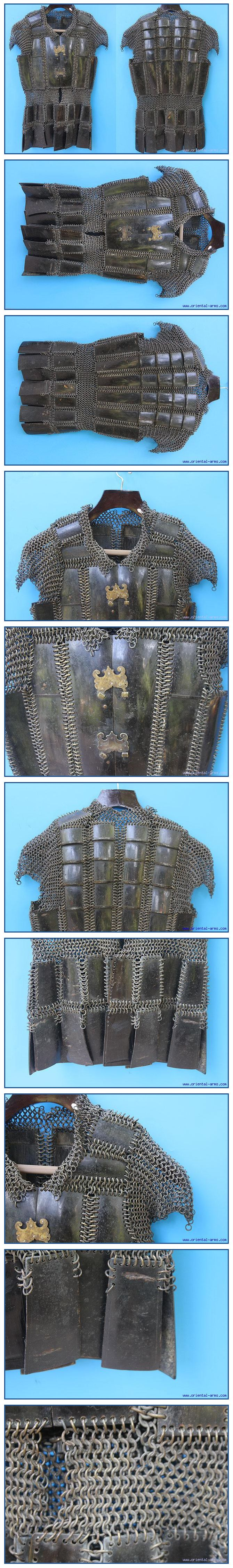 Moro mail and plate armor (kurab-a-kulang) from the Philippines, mid to late 19 century, the armor is constructed from black water buffalo horn plates connected with butted brass mail, with two brass buckles on the chest plates. 26 inches high 18 inches wide, 6.9 Kg. total weight.