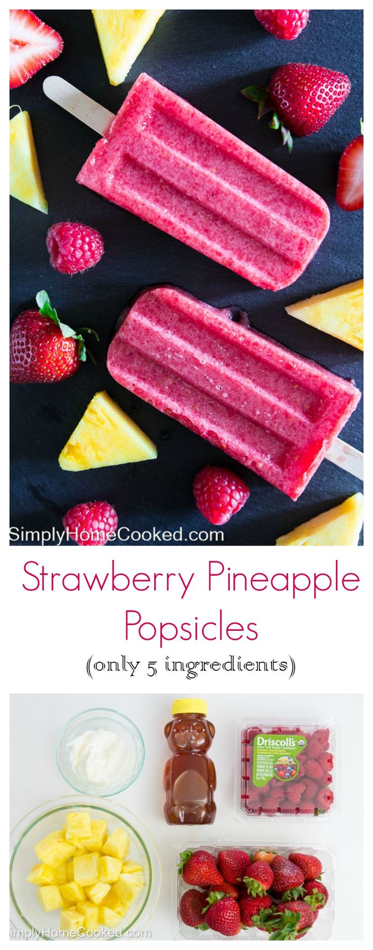 These 5 ingredient strawberry pineapple popsicles are a tastier and healthier alternative to store bought fruit popsicles.