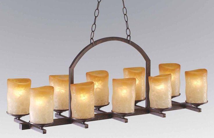 10 Light Rustic Iron Candle Veranda Linear Chandelier