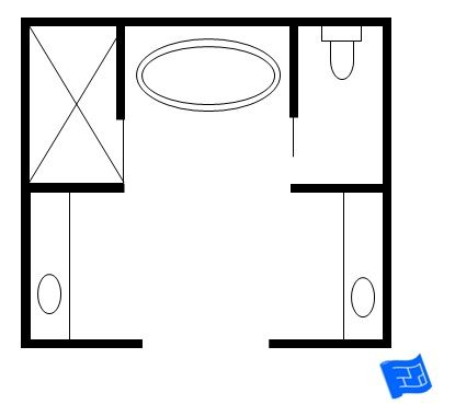I saw this bathroom layout in a magazine.  It had a free-standing bath as shown.  I think I'd be tempted to make more of a bath alcove a bit like the first bathroom on this page.  A bit of space could be saved by making the vanity / sink areas slightly smaller.