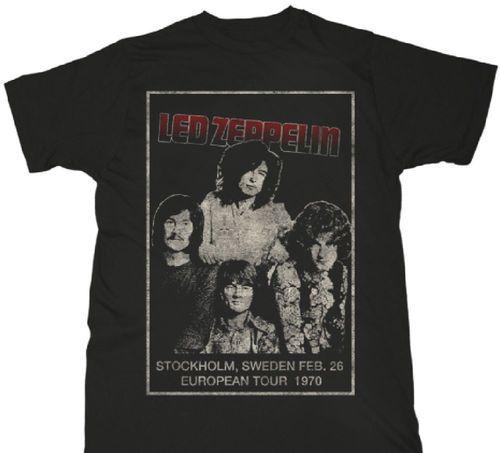 Led Zeppelin Concert T-shirt - Led Zeppelin European Tour February 1970 Stockholm Sweden. Men's Vintage Black Shirt