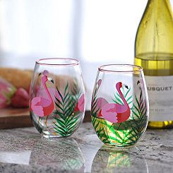 Pink Flamingo Stemless Wine Glasses, Set of 2