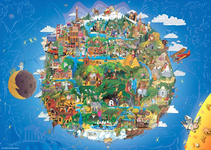 The World Puzzle Collection - 1000 piece jigsaw puzzle from Heye celebrating an elaborate design focused on geography and landmarks. Finished size: 19