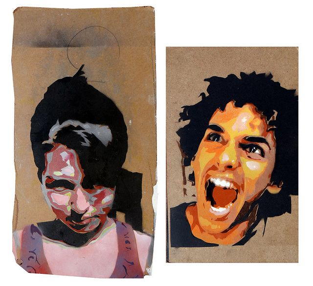 Two stencils i did in my final year of high school. Each work consists of 10 separate colour stencils overlayed. These pieces were inspired by the intricacy displayed by the street artist C215. ©Robin Bonar-Law