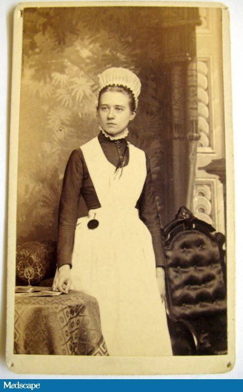 """Anna Palmberg (a night nurse) wears the earliest """"mob"""" style of cap in 1888, designed to completely cover the hair. Image courtesy of the Massachusetts General Hospital Nursing Alumnae Association."""