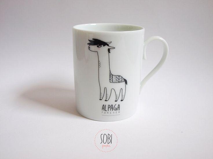 "Mug ""Alpaca"" by Sobigraphie on Etsy https://www.etsy.com/ca/listing/398780171/mug-alpaca"