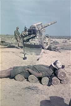 2. World war, North Africa theater of war' Africa campaign - German Artillery post, 1941 - pin by Paolo Marzioli