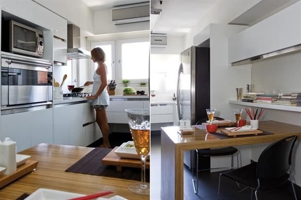 Diez cocinas diseñadas para la vida en familia  En esta cocina alargada se aprovechó cada centímetro con muebles hechos a medida. La mesa enchapada aporta calidez en el espacio regido por la funcionalidad y el minimalismo.         Foto:Archivo LIVING