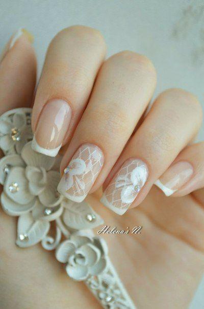 Gel-lacquer wedding nails, Nails of natural shades, Translucent nails, Wedding…