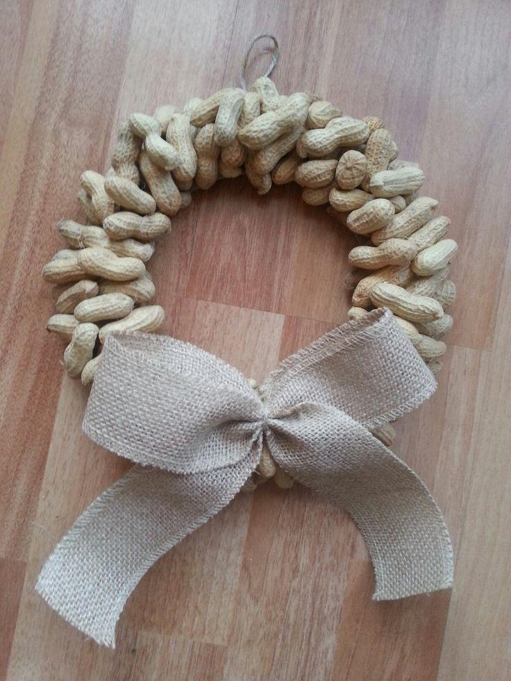 Diy peanut wreath with burlap bow