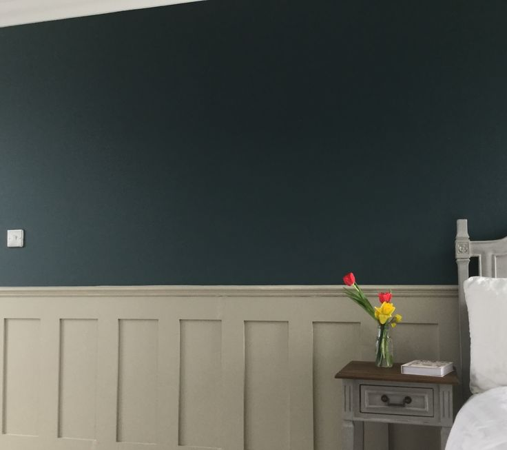 Panelling in farrow and ball drop cloth; walls in inchyra blue. Panelling from English panelling company