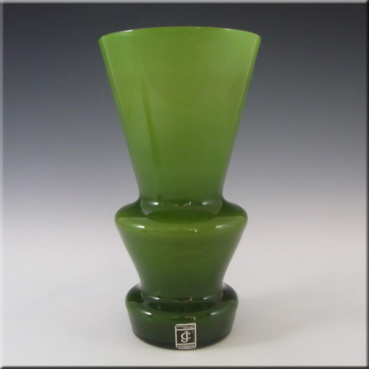 Lindshammar / JC 1970's Swedish Green Hooped Glass Vase - £70.00