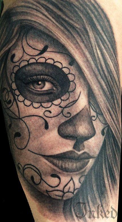Pepper Spice #InkedMagazine #blackandgrey #tattoo #sugarskull #inked #ink #art